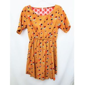 MODCLOTH Peppermint Mustard Printed Dress EUC